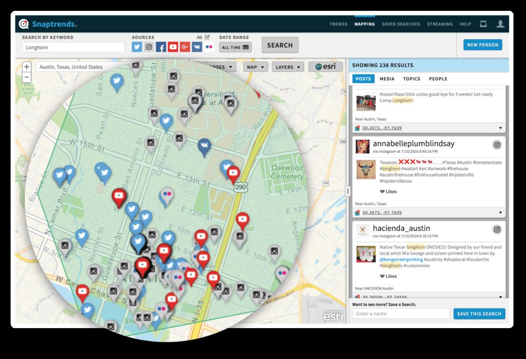 Snaptrends location-based social media map